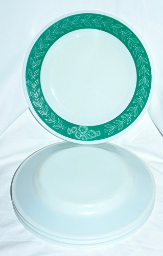 Vintage Corning Pyrex Milk Glass BlueGrass Tableware 9 Inch Dinner Plates, Set of 4