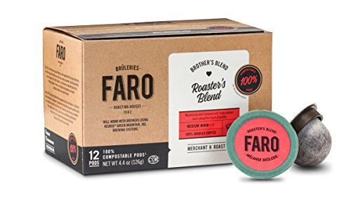 Faro Roasters Blend, Medium Roast Coffee, 100% Compostable Rainforest Alliance Single Serve Cups for Keurig K-Cup Brewers, 24 Count