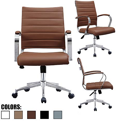 2xhome Brown Modern Contemporary Mid Back Ribbed PU Leather Swivel Tilt Adjustable Chair Executive Manager Office Conference Room Work Task Computer Ribbed Desk Chrome Wheels Arms