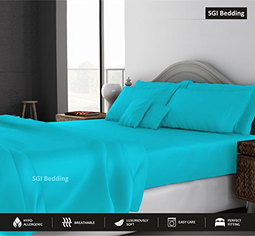 SGI bedding King Size Sheets Luxury Soft 100% Egyptian Cotton - Sheet Set for King Mattress Turquoise Blue Solid 600 Thread Count Deep Pocket