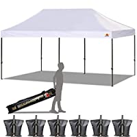 ABCCANOPY 23+ Colors 10x20 Pop up Tent Instant Canopy Commercial Outdoor Canopy with Wheeled Carry Bag Bonus 6 Weight Bags (White)