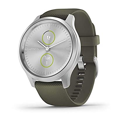 Garmin vívomove Style, Hybrid Smartwatch with Real Watch Hands and Hidden Color Touchscreen Displays, Silver with Moss Green Band