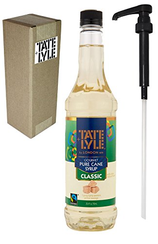 - Tate+Lyle Fairtrade Pure Cane Sugar Classic Simple Syrup, 750mL (25.4 oz) Bottle, Individually Boxed, with Syrup Pump