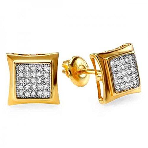 0.15 Carat (Ctw) 10K Yellow Gold White Real Diamond Kite Shape Men's Hip Hop Iced Stud Earrings by Trillion Designs