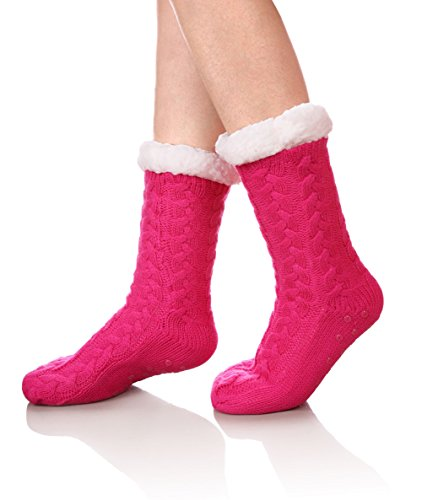 SDBING Women's Winter Super Soft Warm Cozy Fuzzy Fleece-lined Christmas Gift With Grippers Slipper Socks (Rose Red) (Warm Fuzzy Slippers For Women)