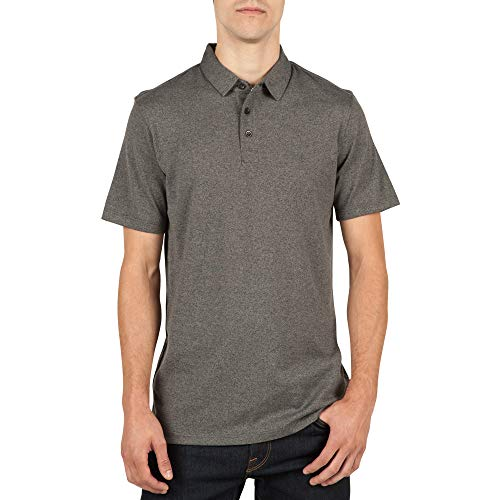 (Volcom Men's Wowzer Modern Fit Polo, Stealth Large)