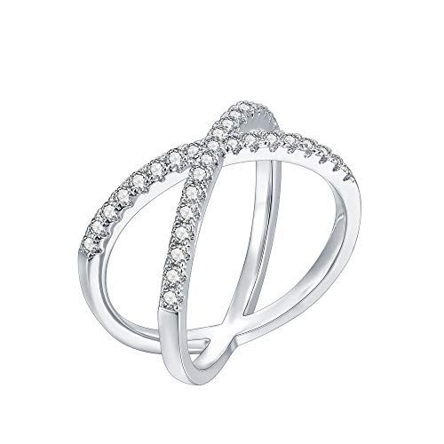 PAVOI 14K Gold Plated Crossover X Stackable Rings | White Gold Rings for Women - Size 7