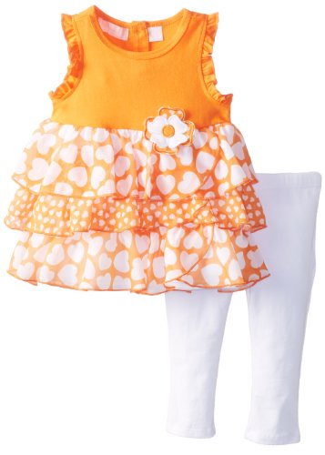 Kids Headquarters Girls 2-6X Heart Print Tiered Set with Rosette