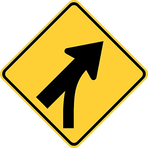 Traffic Signs - Merging Traffic 12 x 8 Aluminum Sign Street Weather Approved Sign 0.04 Thickness