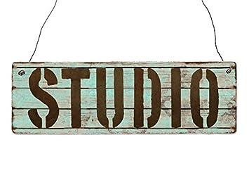 INTERLUXE Holzschild STUDIO Geschenk Deko Shabby Vintage Wohnung Modern  Living
