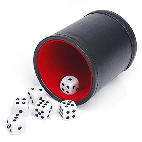 - Tuzama Professional PU Leather Dice Cup, Felt Lined, Set with 6 Dot Dices for Yahtzee Game (Black, Pack of 1)