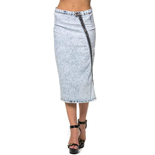 a472e76517e high-quality Zip It Across Acid Wash Pencil Skirt in Light Blue ...