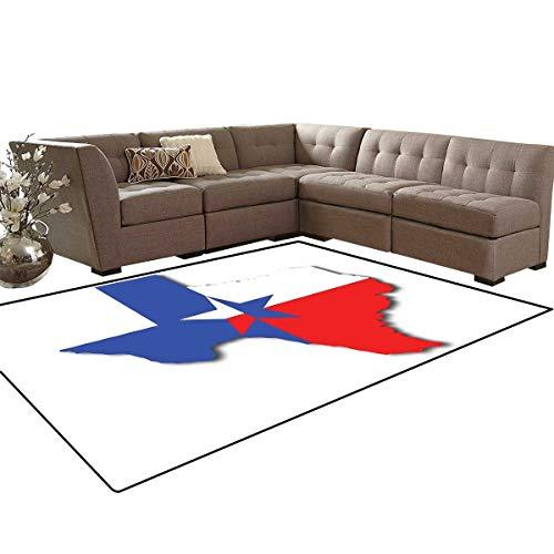 (Texas Star Kids Carpet Play-mat Rug Outline of The Texas Map American Southwest Austin Houston City Room Home Bedroom Carpet Floor Mat 6'6