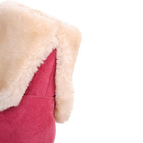 Rosa Baja Mini Caña Botas Agoolar Tacón Esmerilado Cordones Mujeres Redonda Sin Puntera PPRcfA1zq