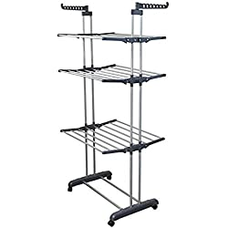 BonBon 3 Tier Clothes Drying Rack Folding Laundry Dryer Hanger Compact Storage Steel Indoor Outdoor (Grey) (Silver)
