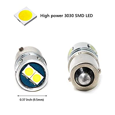 Phinlion 400LM Super Bright 3030 5-SMD BA9 BA9S 53 57 1895 64111 LED Car Light Bulb 12V 24V 6000K Xenon White: Automotive