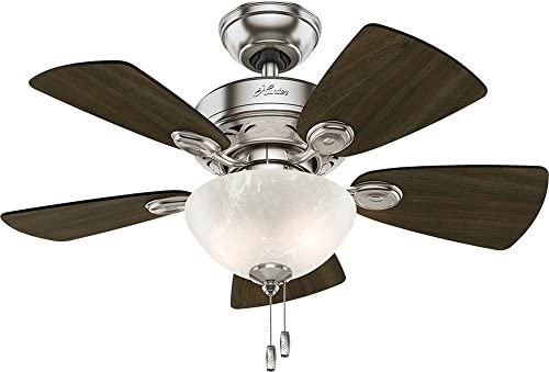 Hunter Fan Company 52092 Watson Ceiling Fan with Light, 34 Small, Brushed Nickel