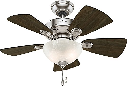 """Hunter 52092 Watson Ceiling Fan with Light, 34""""/Small, Brushed Nickel"""