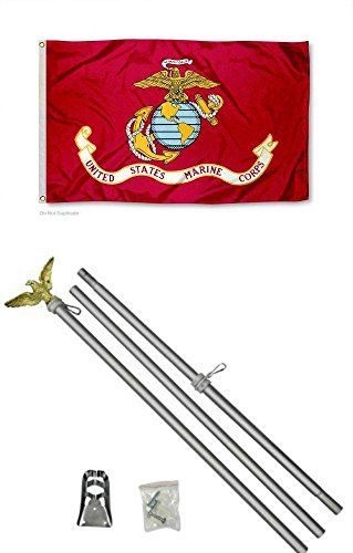 US Marine Corps Red EGA 3'x5' Polyester Flag with 6' Aluminu