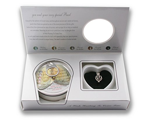 - Pearlina Cage Cultured Pearl Oyster Necklace Set Rhodium Plated Heart Locket w/Stainless Steel Chain,18