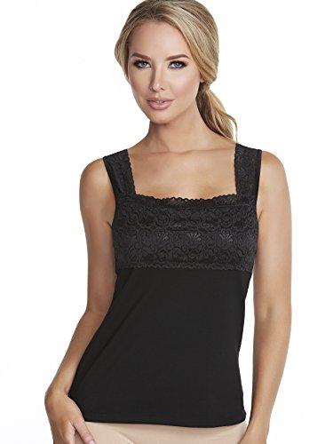 Lace Underwire Camisole - Alessandra B Square Neck Underwire Bra Camisole (34D, Black)