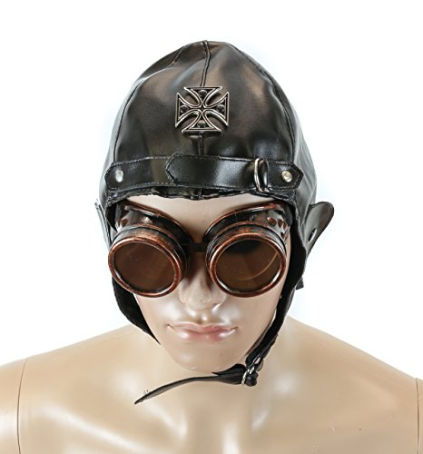 Velvetcrow Black Flying Aviator Hat Metal Iron Cross Punk Goth Cosplay Vinyl (Plain) ()