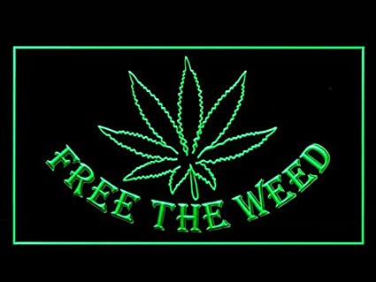 Amazoncom C B Signs Pot Leaf Free The Weed Led Sign Neon Light