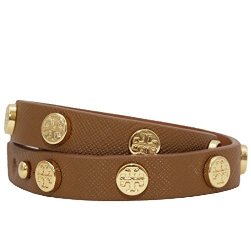 - Tory Burch Double Wrap Logo T Bracelet with Gold Studs - Brown (Tiger's Eye)