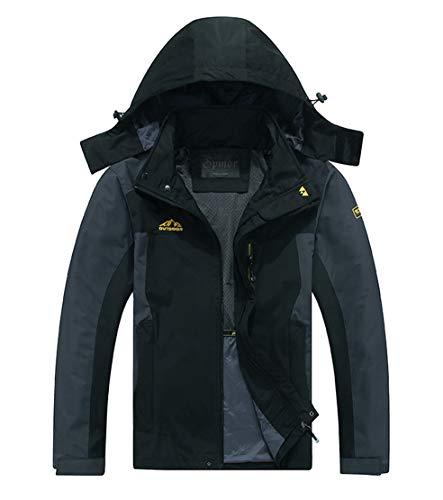 Spmor Men's Outdoor Sports Hooded Windproof Jacket Waterproof Rain Coat Black X-Large