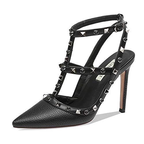 Chris-T Women Pointed Toe Studded Strappy Slingback High Heel 4 Inches Leather Pumps Stilettos Sandals Size 7 US Black/Gun Sutds