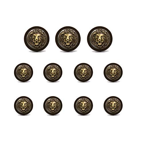 Vintage Antique Buttons - Funcoo 11 pcs Metal Blazer Button Vintage Antique Suits Button Set for Blazer, Suits, Sport Coats, Uniform, Jacket (Bronze-Lion)