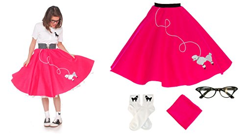 [Hip Hop 50s Shop Adult 4 Piece Poodle Skirt Costume Set Shocking Pink XSmall/Small] (Hip Hop Group Costumes)