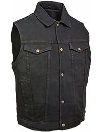 Men's Snap Front Denim Vest w/Shirt Collar (Black,)