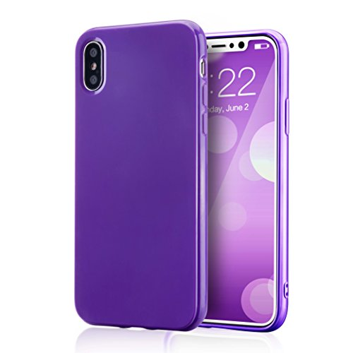 for iPhone Xs Purple Case, technext020 Shockproof Ultra Slim Fit Silicone iPhone 10 Cover TPU Soft Gel Rubber Cover Shock Resistance Protective Back Bumper for iPhone X Purple