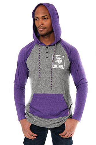 ICER Brands Adult Men Fleece Hoodie Pullover Sweatshirt Henley, Team Color, Purple, Large