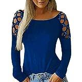 Sunyastor - Blusa de manga larga para mujer con hombros descubiertos, corte sexy, informal, cuello redondo, tallas S-XXXL