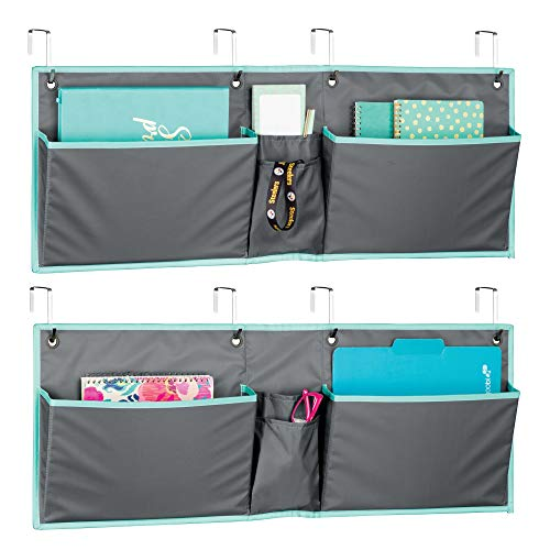 mDesign Soft Fabric Wide Over The Door Hanging Storage Organizer - 4 Pockets in 2 Sizes - Horizontal Office Center Home Office, Work Cubicle - Hooks Included, Pack of 2, Gray/Teal Blue