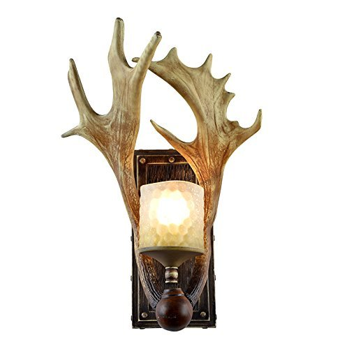 EFFORTINC Rustic Deer Horn Antler Wall Sconce 1 Light Fixtures - Antler Wall Sconce