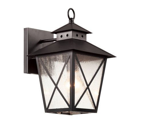 Trans Globe-Two Light Black Clear Seeded, Square, Cross Bar Glass Wall Lantern-40172 BK