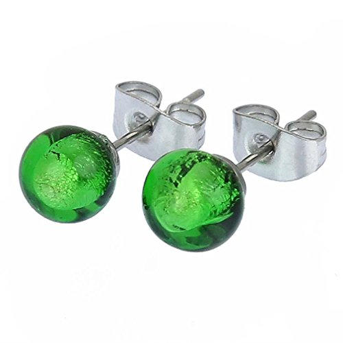 GlassOfVenice Murano Glass Tiny Stud Earrings - Emerald (Green Murano Glass Ring)