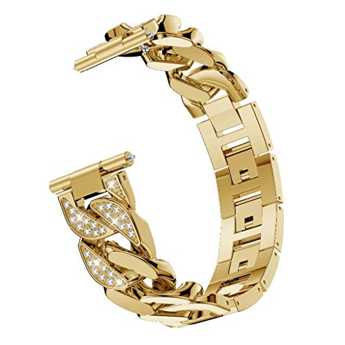 Libison Watch Band, All Metal Solid with Interlock Clasp Single Row Cowboy Diamond Alloy Watch Band Wrist Strap for Fitbit Versa Lite (Gold)