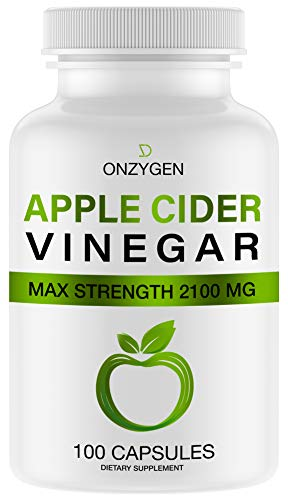 Apple Cider Vinegar Capsules - 100 Capsules 2100 MG - Natural Weight Loss - Healthy Diet - Appetite Suppressant - Detox - Powerful Cleanser Pills - Fat Burners for Men & Women - Metabolism Booster