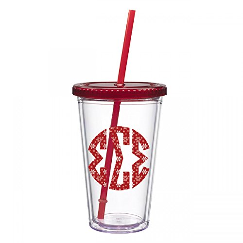 Coach Mate (Sigma Sigma Sigma Snowflake Monogram Sticker Decal on Clear Tumbler Red Lid Christmas Holiday Exclusively Designed Greek 16 oz. BPA Free Licensed Tri-Sigma)