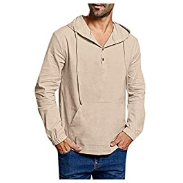 Mens Hoodie Sweatshirts Long Sleeve Pullover Henley Shirts Solid Casual Tops