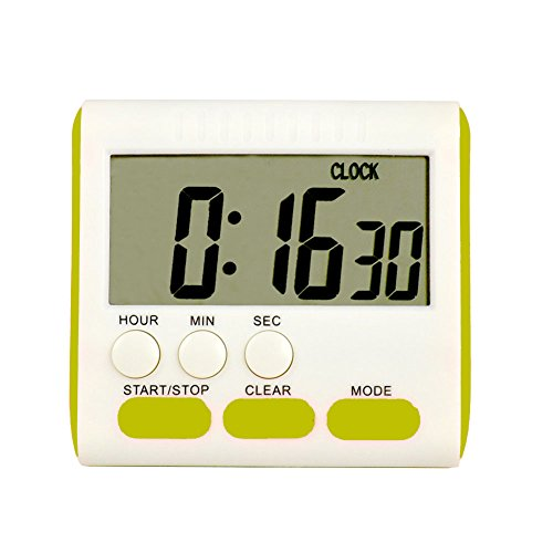 Kitchen Timer, Magnetic Digital Timer Clock, Large LCD Display Multi-Function Count Up Countdown(Green)