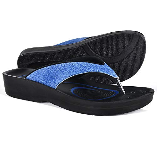 AEROTHOTIC Original Orthotic Comfort Thong Sandal and Flip Flops with Arch Support for Comfortable Walk (US Women 7, Mellow Blue)