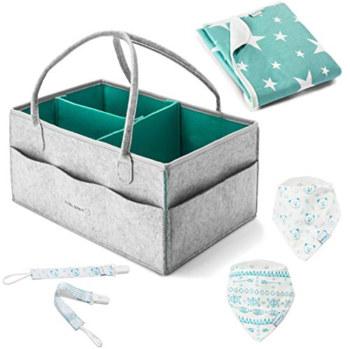 Diaper Caddy Organizer - Gray Large Portable Nursery Storage Bag Car Nursery Basket for Changing Table Bag Bin Baby Toys, 2 bandana bibs, 2 pacifier clips, 1 large changing pad baby shower gift