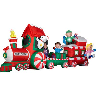peanuts snoopy express train 13 wide animated christmas airblown inflatable gemmy - Santa Train Outdoor Christmas Decoration