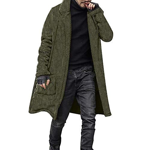 Toimothcn Men Loose Warm Plush Lapel Cardigan Double-Sided Furry Long Coat Slim Fit(Army Green,XL)