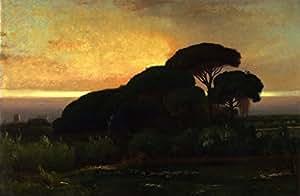 OdsanArt 16 x 25,4 cm Impresionismo Post 'Stone pines (también conocido como Pine Grove Barberini Villa Albano Italia)' by George Inness Póster de artstore
